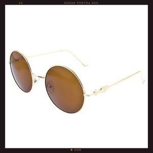 Accessories - 'John Lennon' Gold+Brown Round Lenses